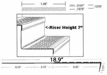 Rubber Stair Treads | Non Slip One-Piece Tread and Riser large image 2