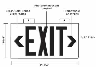 Photoluminescent Exit Signs Metal-50ft. UL Approved large image 10