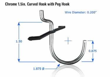 Pegboard Hooks | Chrome Plated large image 1