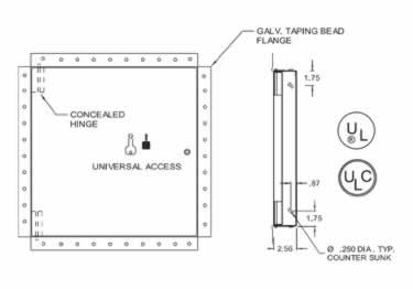 Fire Rated Access Doors | Uninsulated Exposed Flange by Acudor large image 10