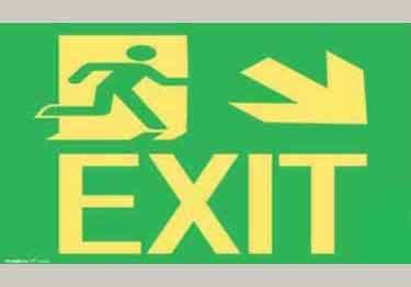 Photoluminescent Intermediate Exit Door Sign | down right