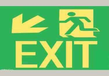 Photoluminescent Intermediate Exit Door sign, down left