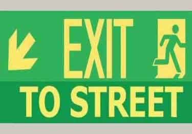 Photoluminescent Exit to Street-down and left