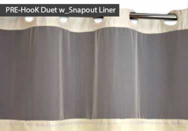 6/pk Commercial Fabric Shower Curtains | Hookless Design large image 2