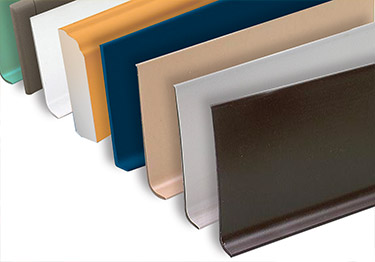 Rubber and vinyl wall base is highly durable and extremely flexible.